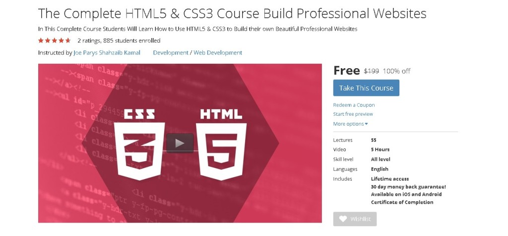 Free Udemy Course on The Complete HTML5 & CSS3 Course Build Professional Websites