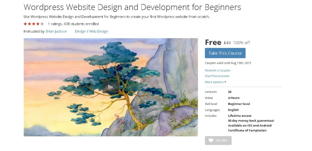 Free Udemy Course on WordPress Website Design and Development for Beginners