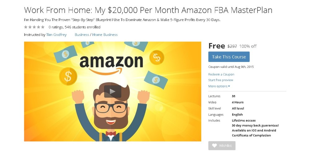 Free Udemy Course on Work From Home My $20,000 Per Month Amazon FBA MasterPlan 1