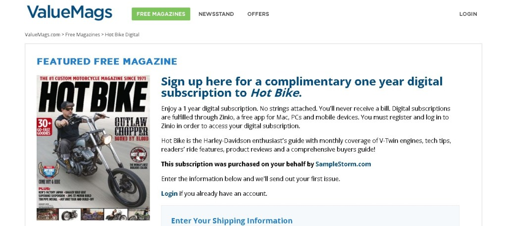Free one year digital subscription to Hot Bike Magazine (2)