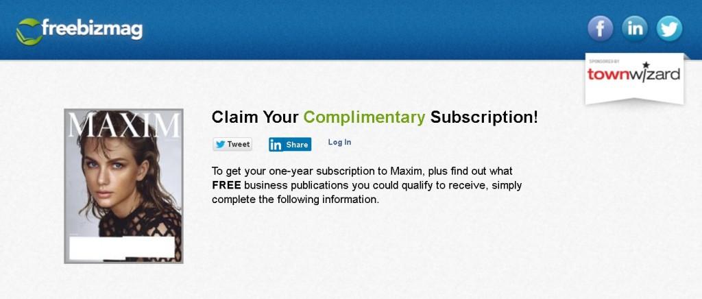 Free one-year subscription to Maxim Magazine 1