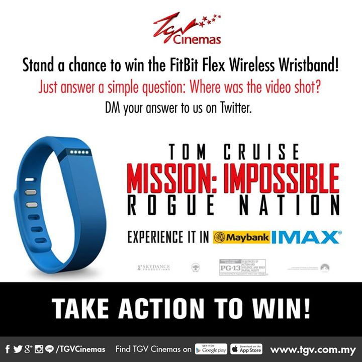 Mission Impossible Rougue Nation Contest Win FitBit Flex Wireless Wristband