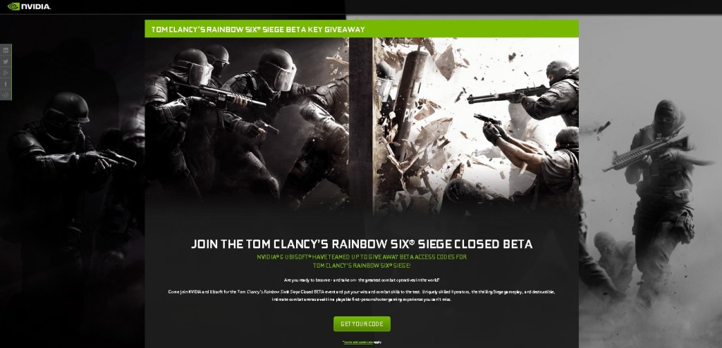 Tom Clancy's Rainbow Six® Siege BETA Key Giveaway at NVIDIA 1