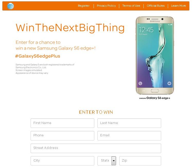 WIN Samsung Galaxy S6 Edge+ at AT&T Giveaway FORM