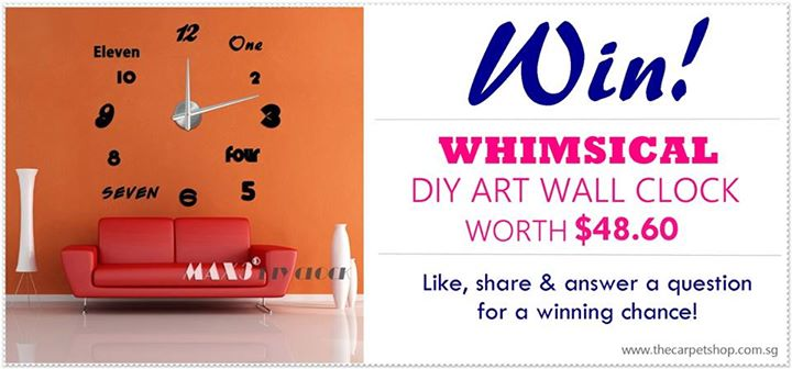Win Whimsical DIY Art Wall Clock at The Carpet Shop Singapore