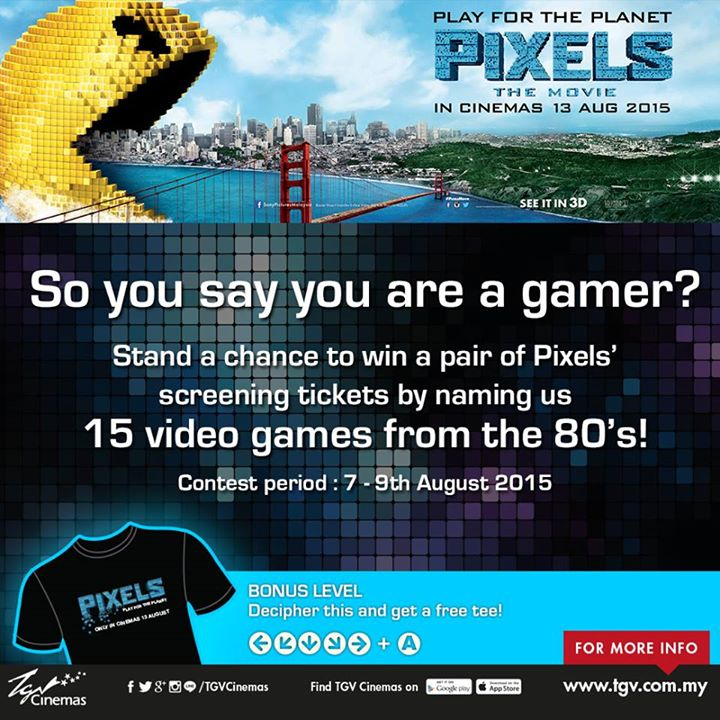 Win a Pair of Pixels' Tickets at TGVCinemas Malaysia
