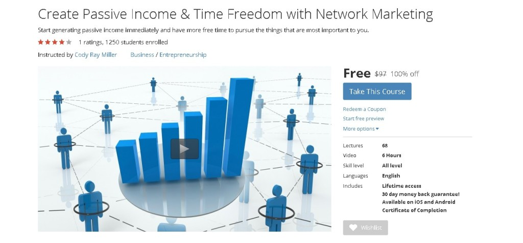 Free Udemy Course on Create Passive Income & Time Freedom with Network Marketing 1