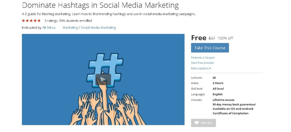 Free Udemy Course on Dominate Hashtags in Social Media Marketing  1