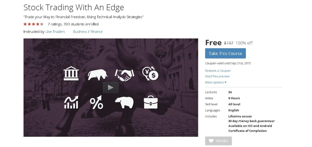 Free Udemy Course on Stock Trading With An Edge  1