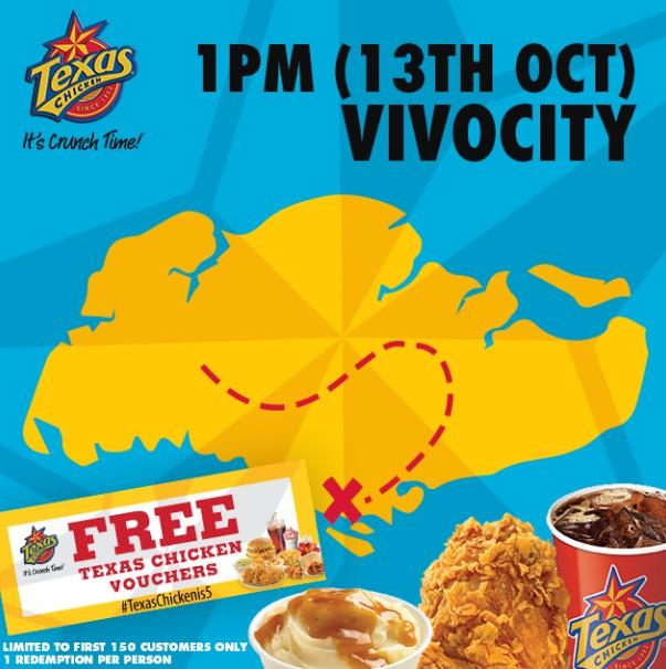 FREE Texas Chicken vouchers at Vivocity Singapore