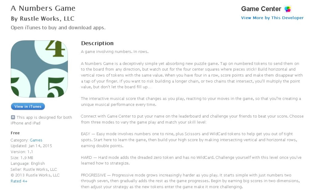 FREE iOS Game  A Numbers Game By Rustle Works, LLC