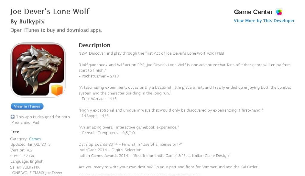 FREE iOS Game Joe Dever's Lone Wolf By Bulkypix