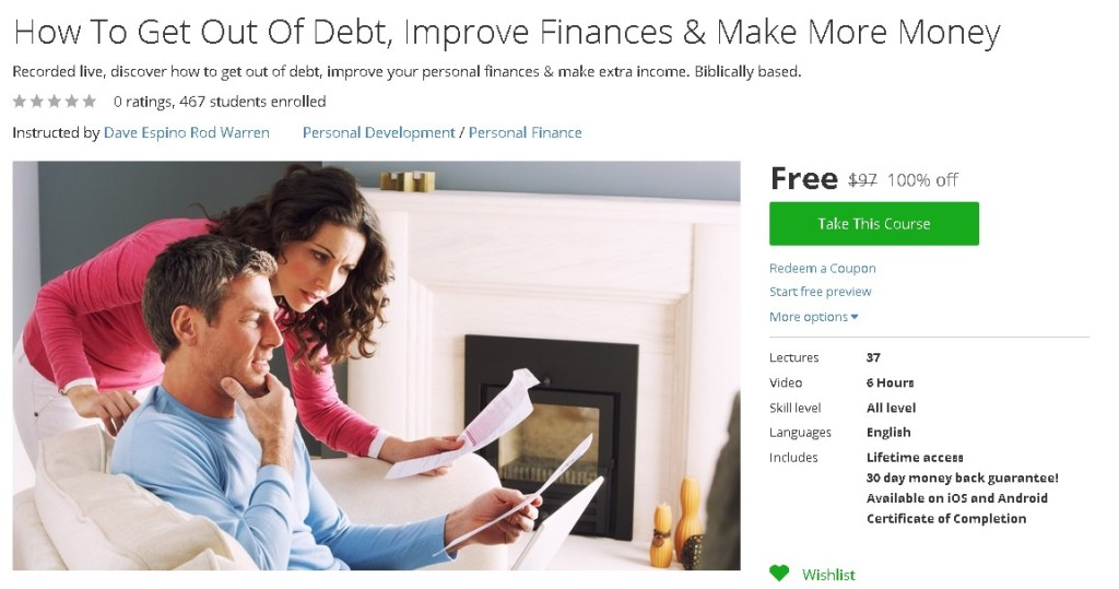 Free Udemy Course on How To Get Out Of Debt, Improve Finances & Make More Money