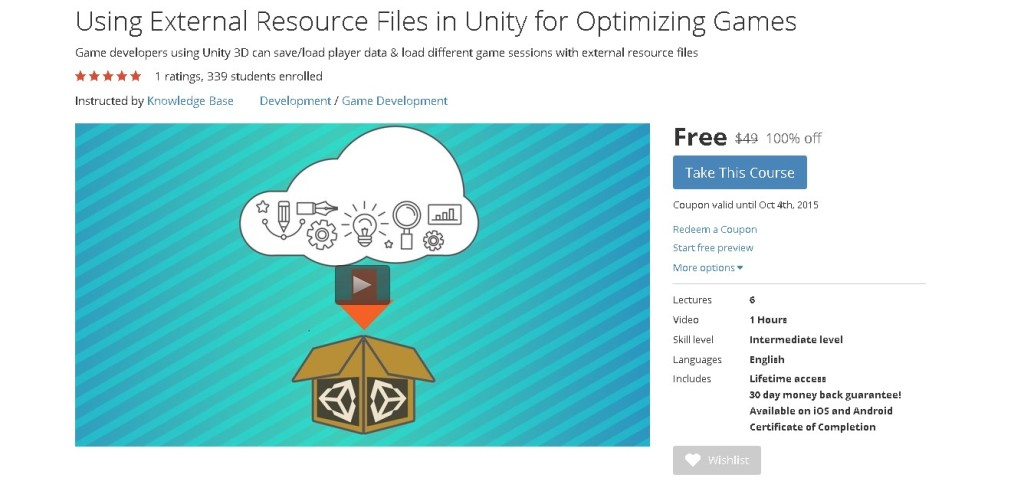 Free Udemy Online Course on Using External Resource Files in Unity for Optimizing Games