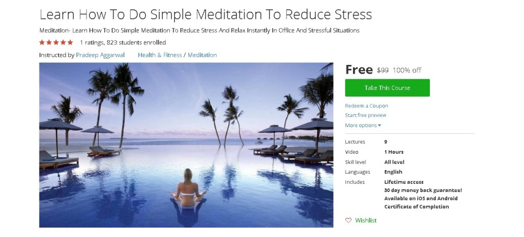 Free Udemy Course on Learn How To Do Simple Meditation To Reduce Stress