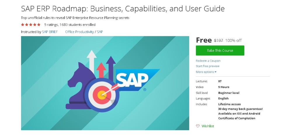 Free Udemy Course on SAP ERP Roadmap Business, Capabilities, and User Guide