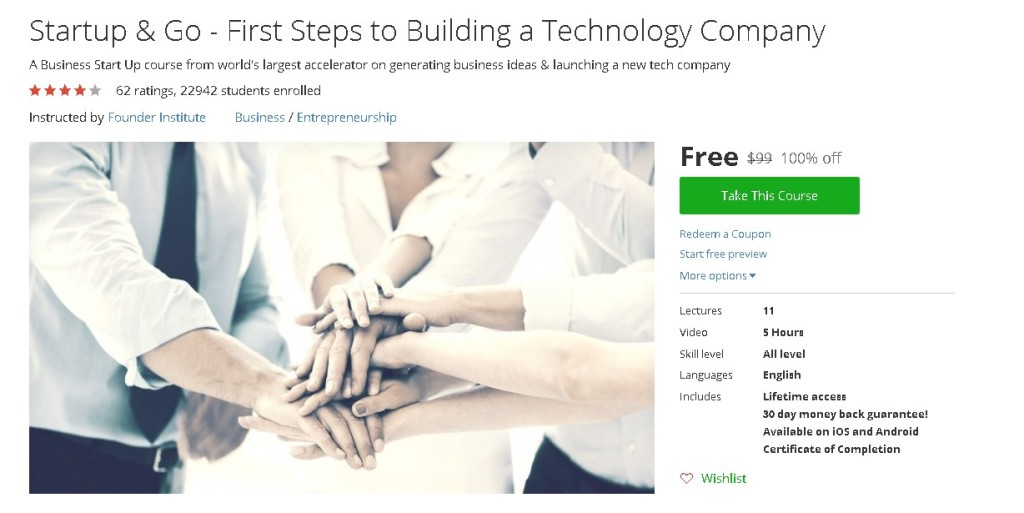 Free Udemy Course on Startup & Go - First Steps to Building a Technology Company