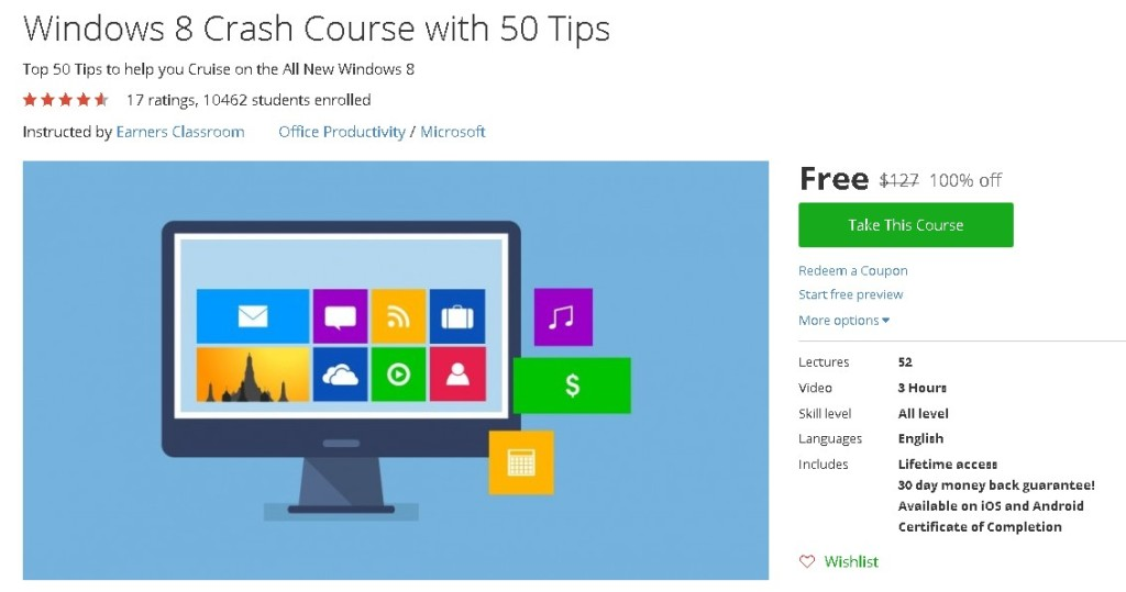 Free Udemy Course on Windows 8 Crash Course with 50 Tips