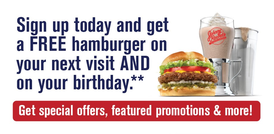 Free hamburger on your birthday at Johnny Rocket's