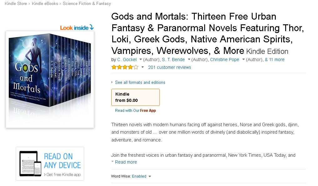 FREE  Gods and Mortals Thirteen Free Urban Fantasy & Paranormal Novels Featuring Thor, Loki, Greek Gods, Native American Spirits, Vampires, Werewolves, & More Kindle Edition at Amazon