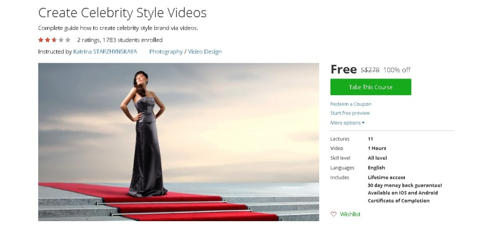 Free Udemy Course on Create Celebrity Style Videos