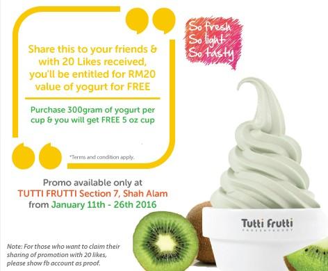 Redeem your free yogurt at Tutti Frutti Malaysia
