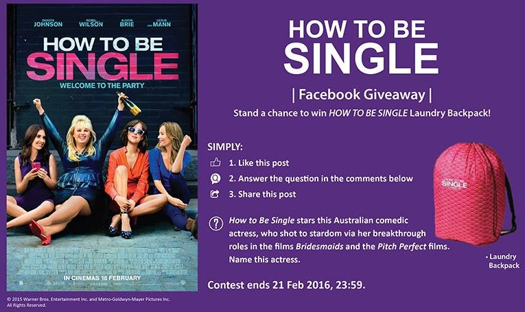 Stand a chance to win how to be single laundry backpack giftout singapore stand a chance to win how to be single ccuart Images