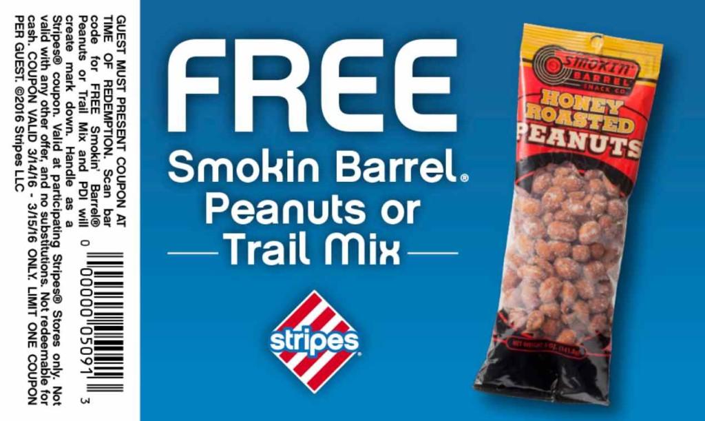 Free Smokin Barrel Peanuts or Trail Mix at Stripes