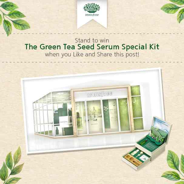 Like and Share this post, then tag your friends and 10 lucky winners will stand to win The Green Tea Seed Serum Special Kit