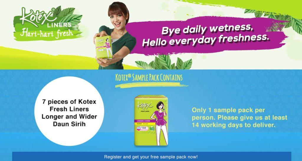 #Free Kotex Sample Pack- 7 Pieces of Kotex Fresh Liners