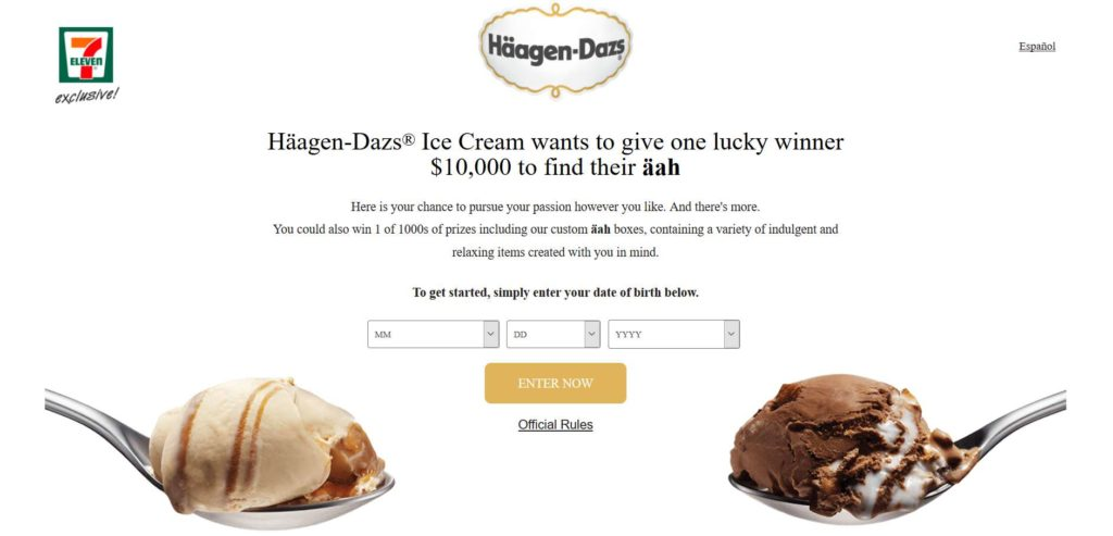 Häagen-Dazs ® brand Find Your Äah Instant Win Game & Sweepstakes