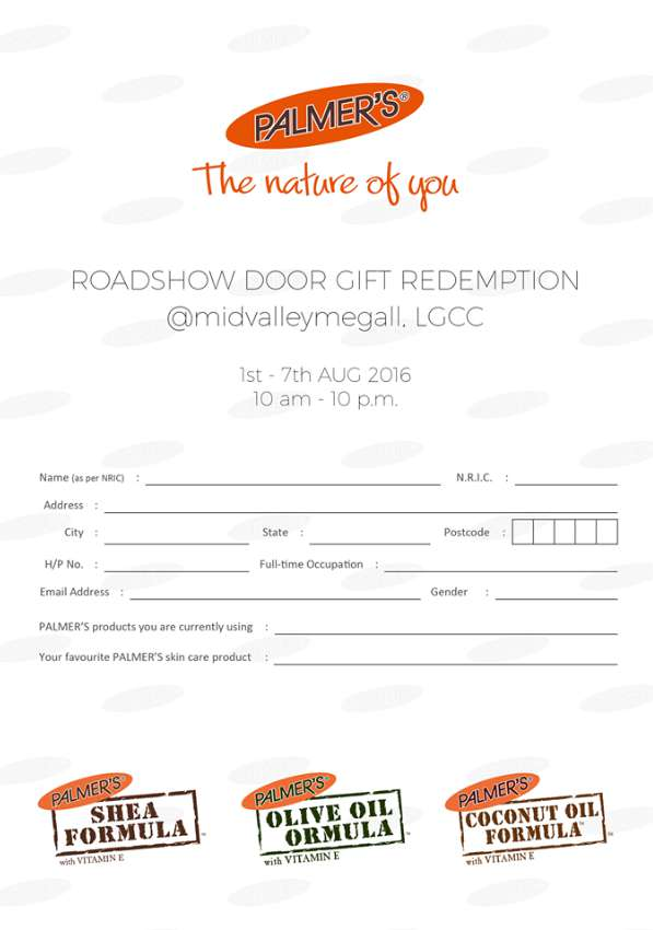 Redeem your PALMER'S skin care door gift at  at PALMER'S Roadshow