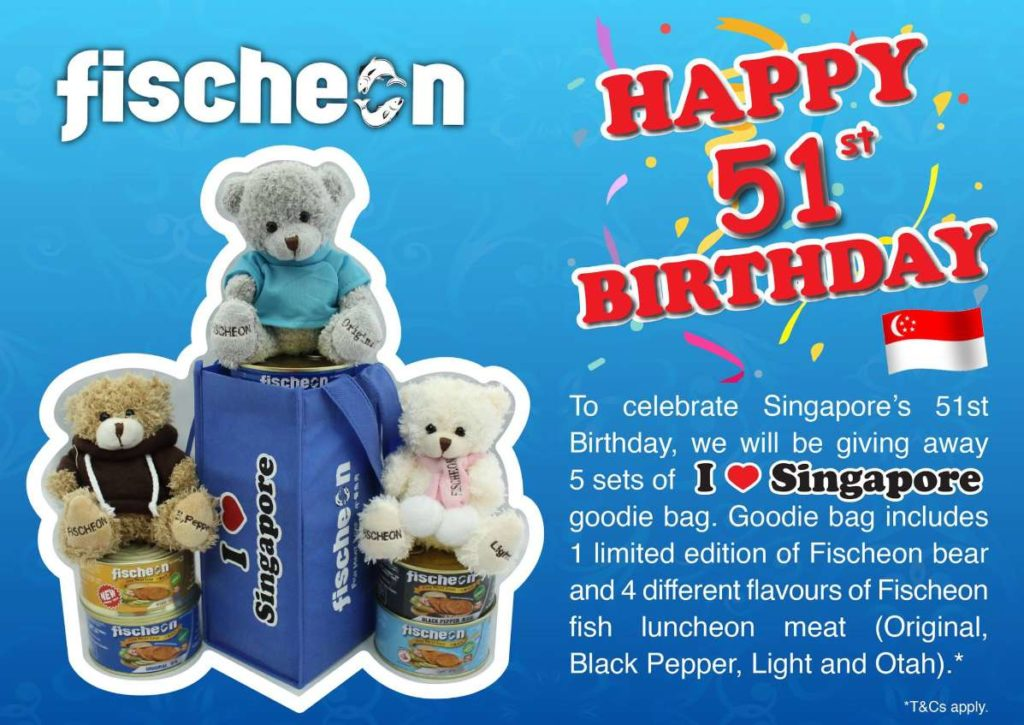 To celebrate Singapore's 51st Birthday, Fischeon will be giving away 5 sets of ' I ❤ Singapore ' goodie bag