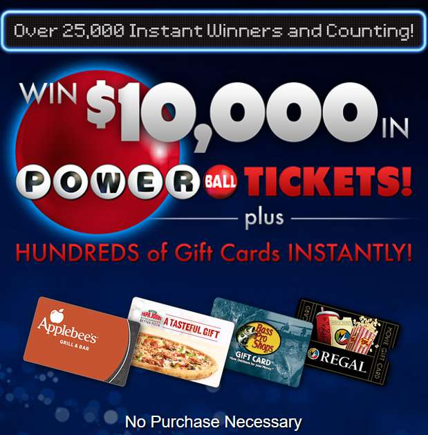 Win $10,000 in Powerball Tickets Plus Hundreds of Gift Cards