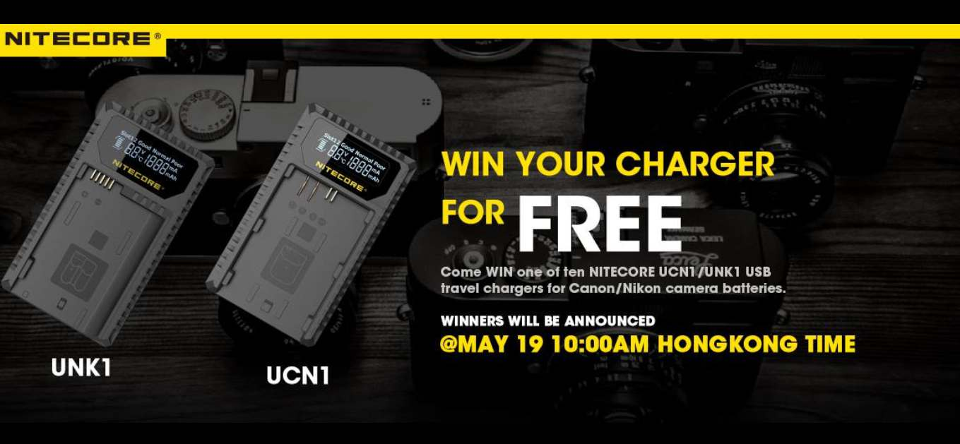 Win a NITECORE UCN1/UNK1 USB travel chargers for Canon/Nikon camera